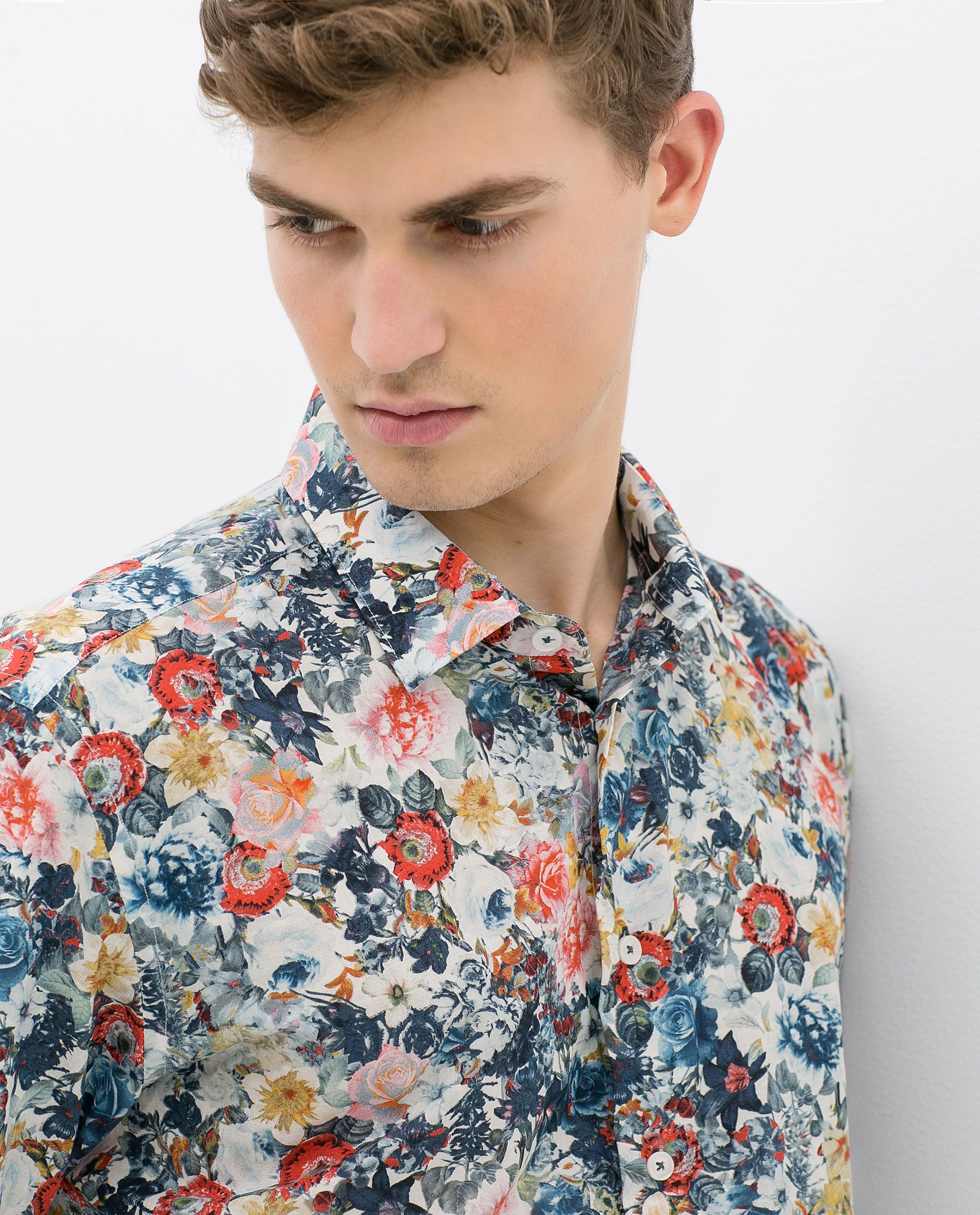 Zara Floral Print Shirt in Red for Men  1bbfb43f1c93
