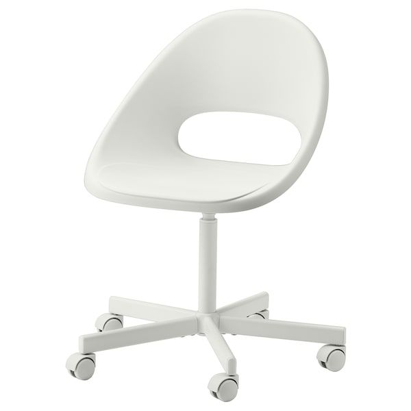 Loberget Blyskar Swivel Chair White Ikea In 2020 Swivel Chair Micke Desk Ikea