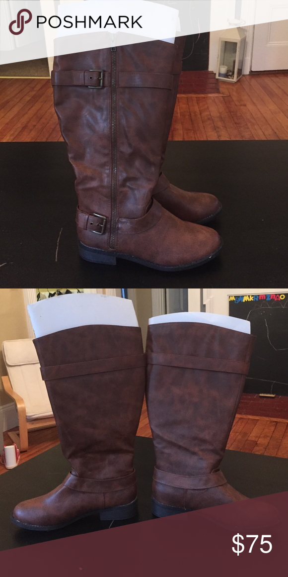 e3731f35bd1 Brash Brown Wide calf boots NWOT!! Wide Calf. Size 9. Brown. Knee High.  Bought at AVENUE Brash Shoes