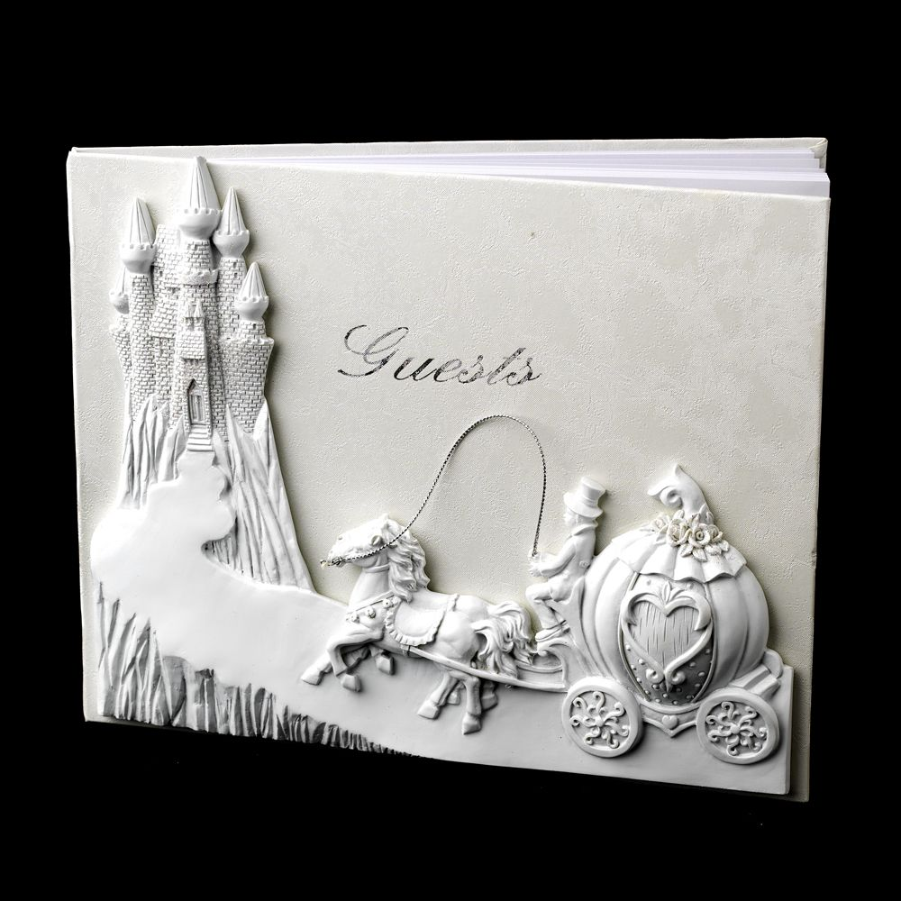 Majestic Pink Cinderella Castle Guest Book | Wedding Guest books ...