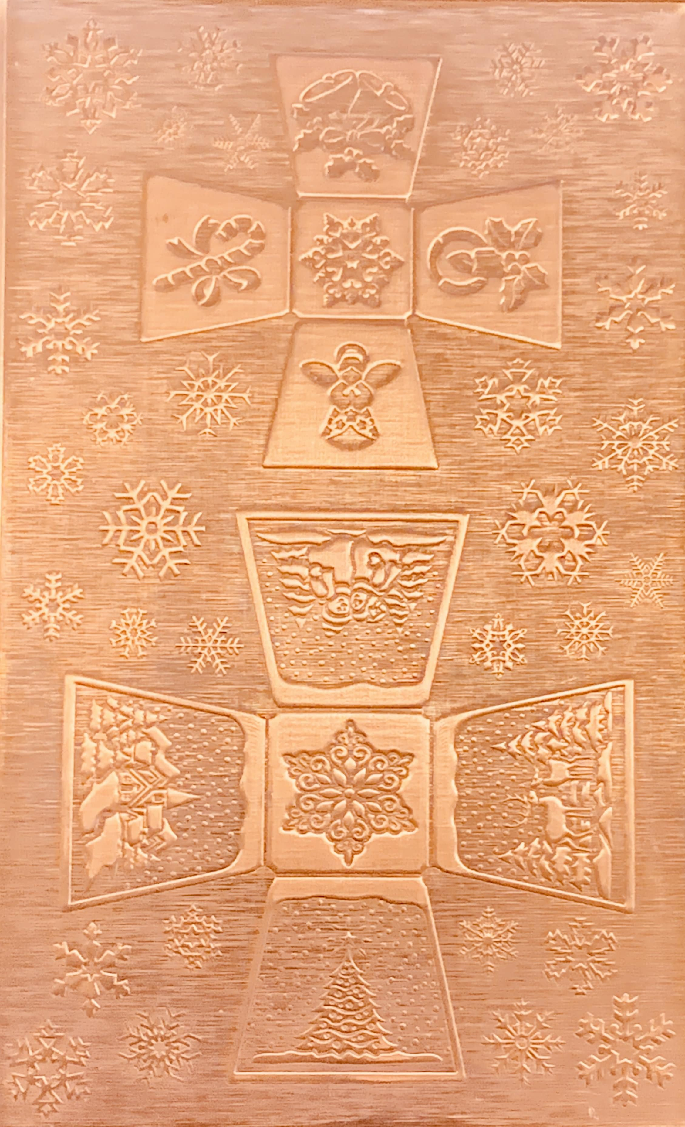 Square Sided Jingle Bell Copper Pattern Pressing 2 1 2 X 4 Metal Maven Jingle Bells Snowflake Designs Copper