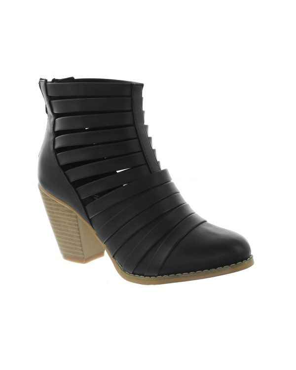 "*Please read the ""fit"" of these shoes before ordering.These strappy ankle boots feature trendy cut outs and a heel of perfect height. Wear these booties with your favorite leggings, skinny jeans, or tights and skirt.Material: All man made material. Heel: 2-1/2""Fit: Runs 1/2 size big. If you wear a size 8 buy a size 7.5.Colors: Black and Tan."