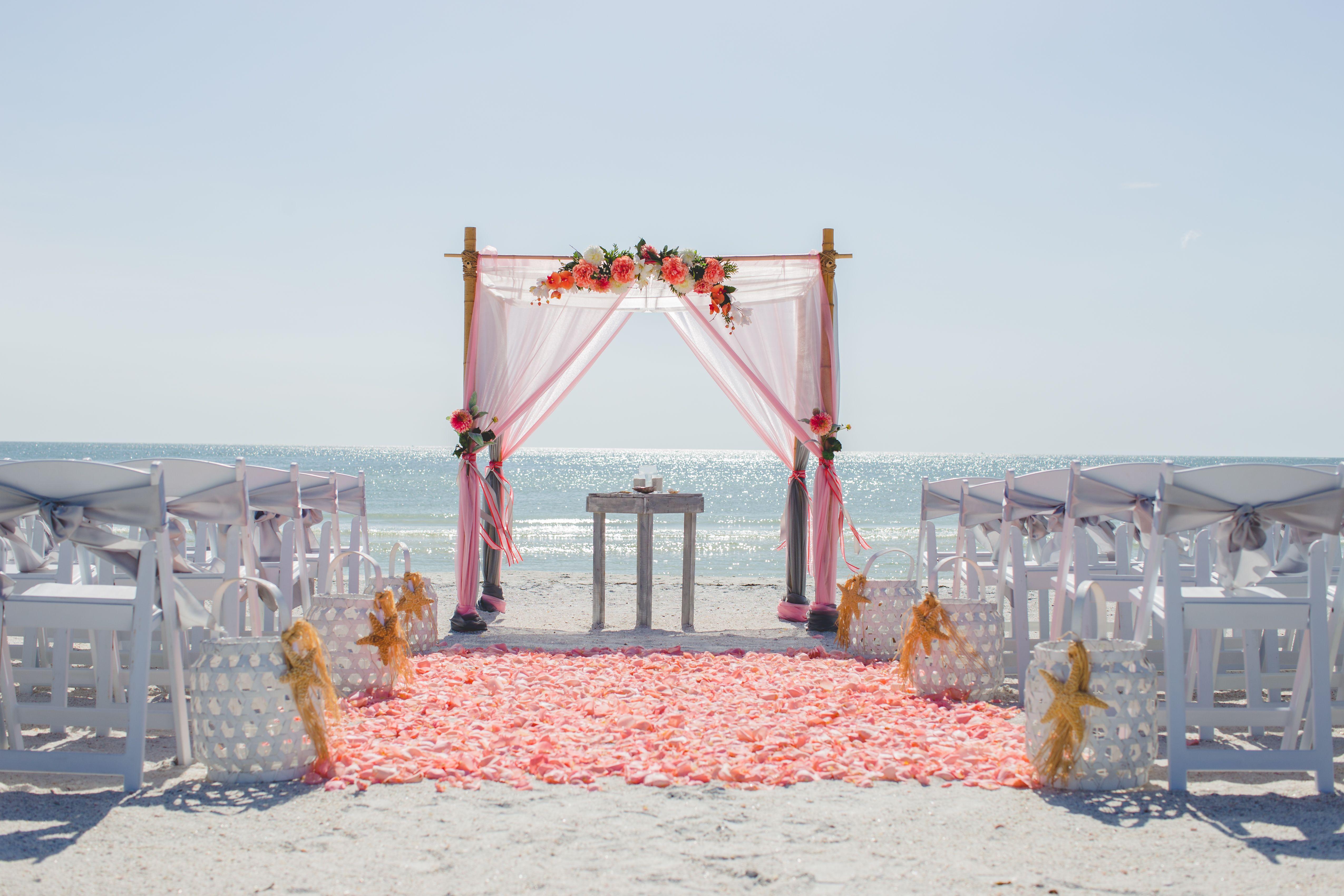 C And Silver Beach Elegant Wedding