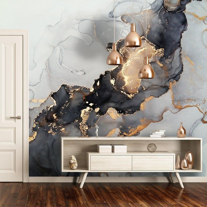 Black Grey Gold Yellow Marble Design Wallpaper Peel And Stick Etsy 3d Wallpaper Abstract 3d Wallpaper Marble Art