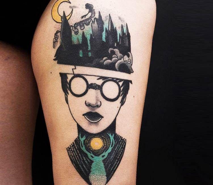 Harry Potter Tattoo By Elena Fortuna Harry Potter Tattoos Harry Potter Tattoo Tattoos