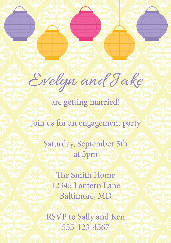 Chinese Lantern Wedding Engagement Invitations - Garden Party ...