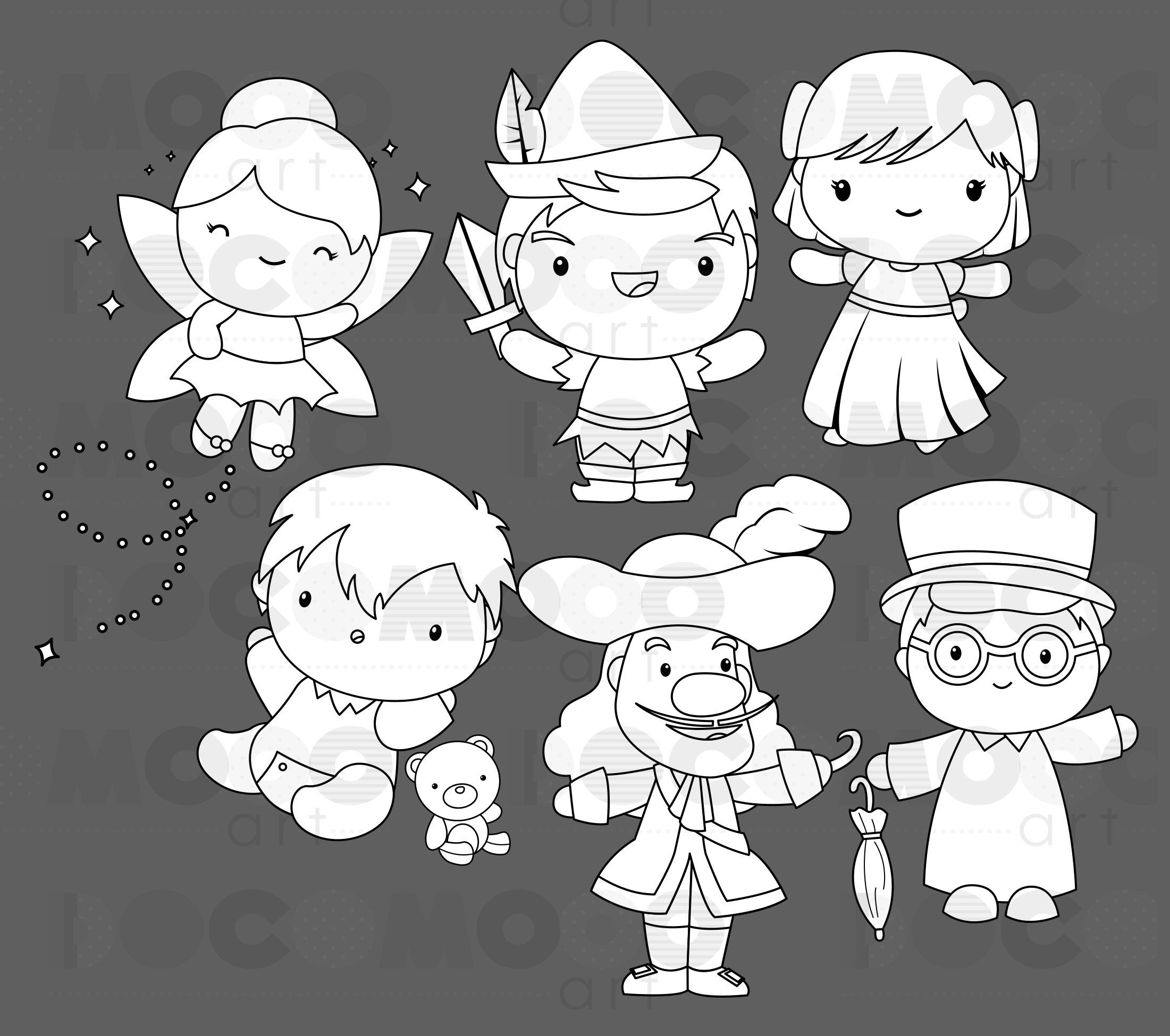 Pirate And Kids Clipart Fantasy Clip Art Black And White Etsy In 2021 Kids Clipart Clip Art Disney Clipart