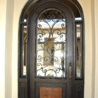 Mediterranean Iron Doors   Round Top Marbella Iron Door With Wraparound  Transom. By The Front