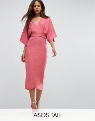 Vestido escotado a media pierna estilo kimono de ASOS TALL