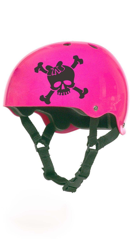 Raumaufkleber für mädchen roller derby skull with bow helmet vinyl sticker decal  via