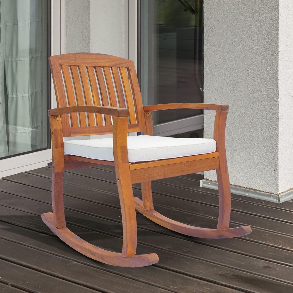 Wondrous Wooden Garden Rocking Chair Outdoor Deck Pool Armchair Squirreltailoven Fun Painted Chair Ideas Images Squirreltailovenorg