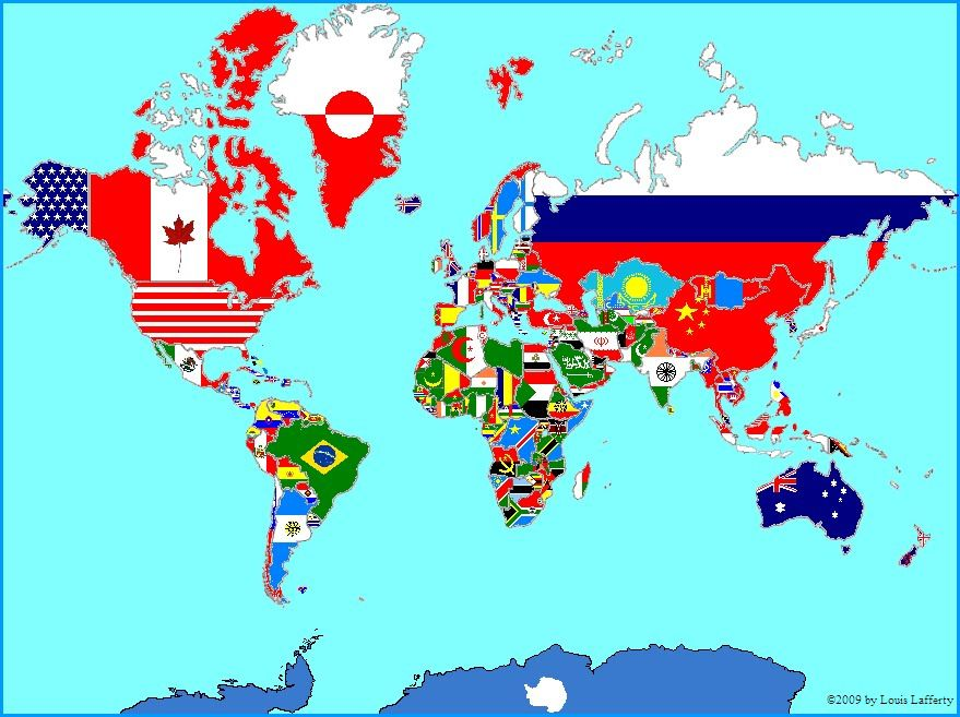 Pin by foster ginger on flags flags of the world vexillogy here is a map of the world made out of flags each flag is scaled to match the size of the nation it represents gumiabroncs Gallery
