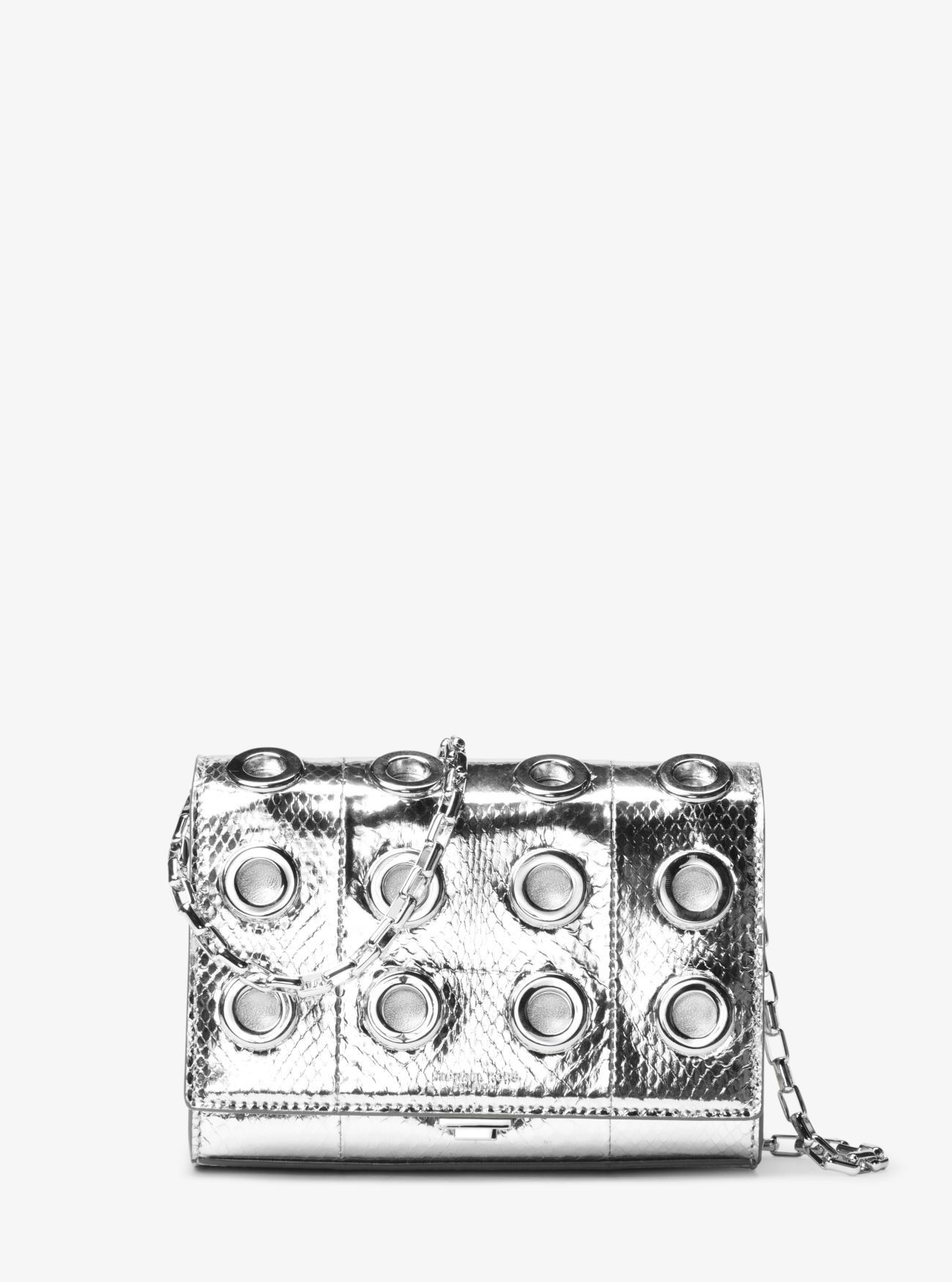 8e1ef9419d78 MICHAEL KORS Yasmeen Small Grommeted Metallic Snakeskin Clutch.  michaelkors   bags  clutch  metallic  shoulder bags  suede  lining  hand bags