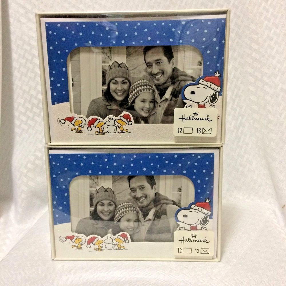 Snoopy Woodstock Picture Frame Christmas Greeting Cards Hallmark
