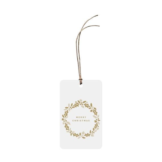 Photo of Festive Gift Tag – Merry Christmas Wreath. Plain Christmas Gift Tag. Wreath Illustration. Neutral Colours. Warm Hues. Hand Drawn.