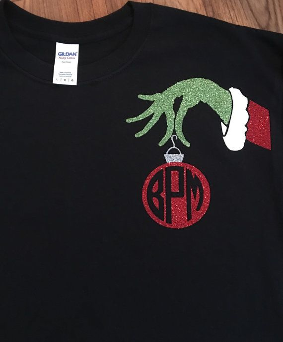 9a63634b1ba9 This shirt is so cute for Christmas! Mr Grinch ornament monogram is made on  the front left chest of shirt and made with glitter HTV.