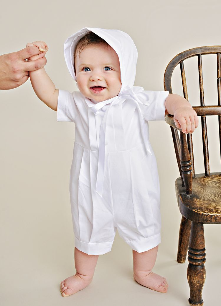 0f87c759e A handsome Springtime romper, our Tyler couldn't be more adorable with it's  coordinating bonnet.