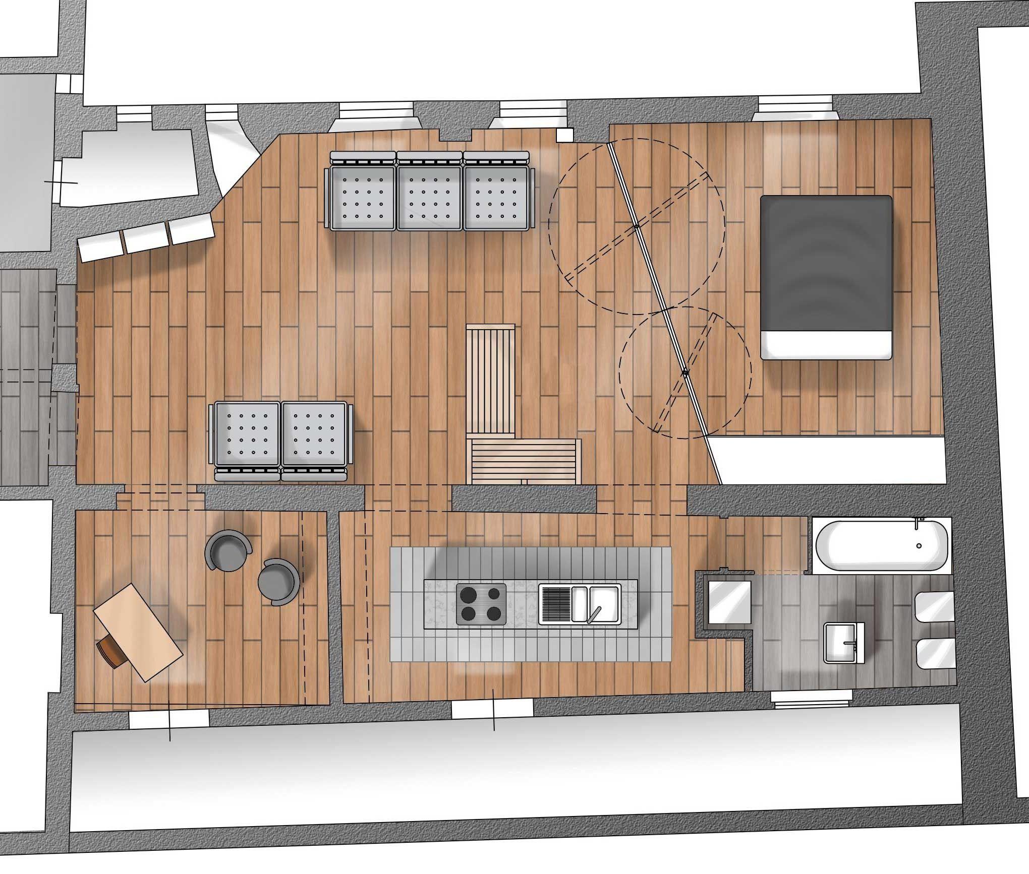 Casa 80 Mq Pianta 80 mq con pareti apribili che trasformano l'open space in