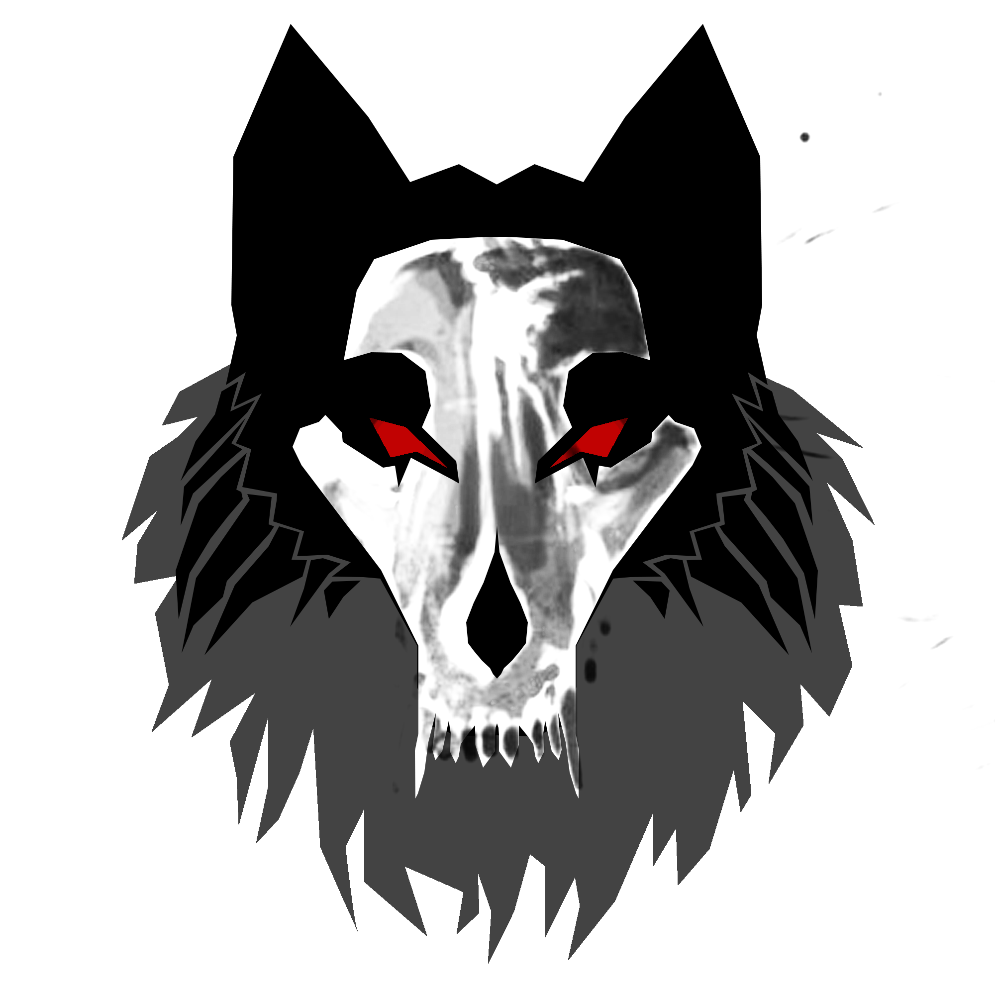 First wolf with wolf skull masked. Wolf emblem, Wolf