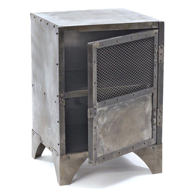 Merveilleux Hip Vintage Steel Shoe Locker End Table   10460