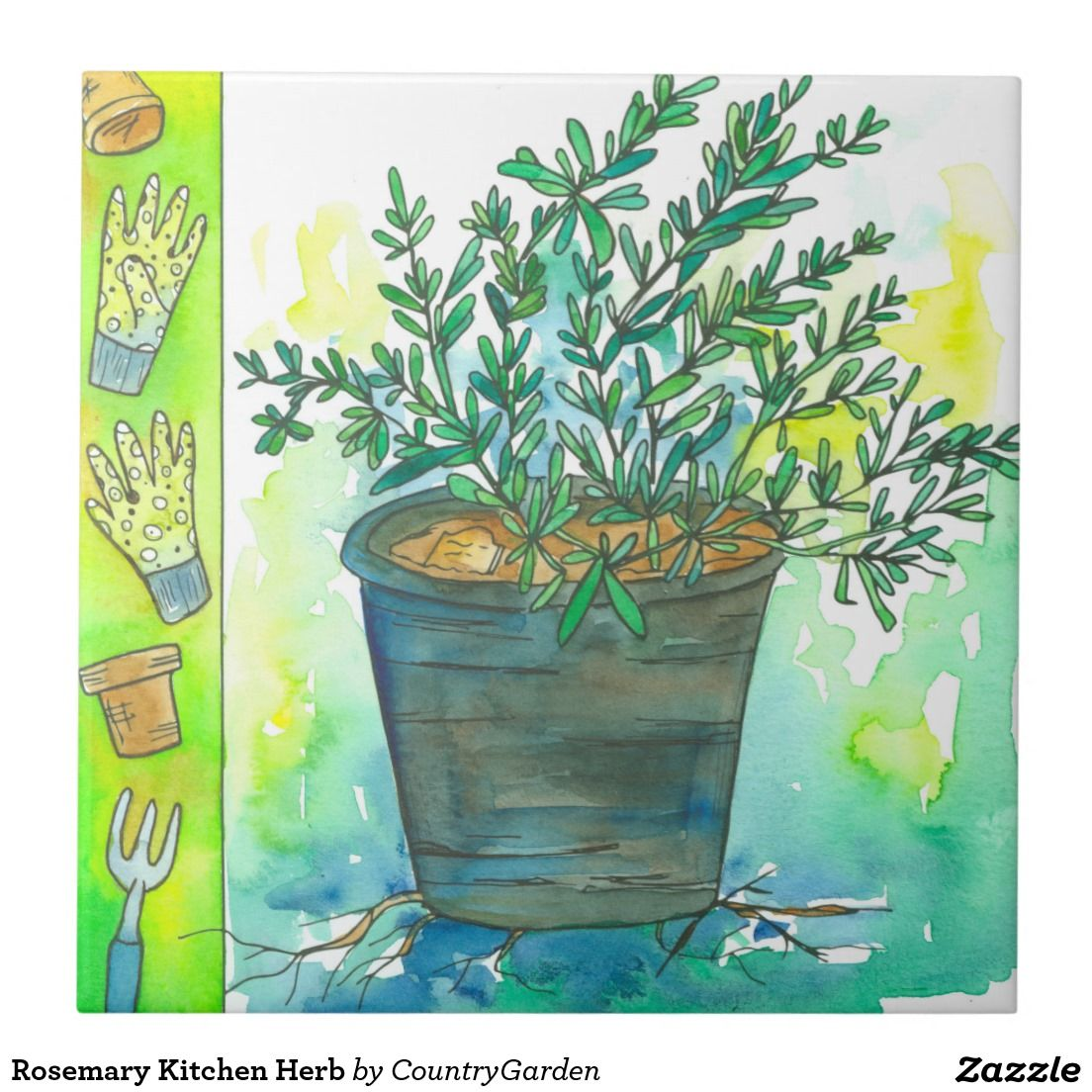 Rosemary Kitchen Herb Ceramic Tile | Watercolor Illustrations ...