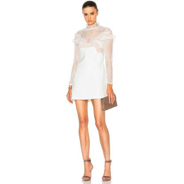 5b9feb3e9d7 self-portrait Wave Trim Mini Dress (£337) ❤ liked on Polyvore featuring  dresses