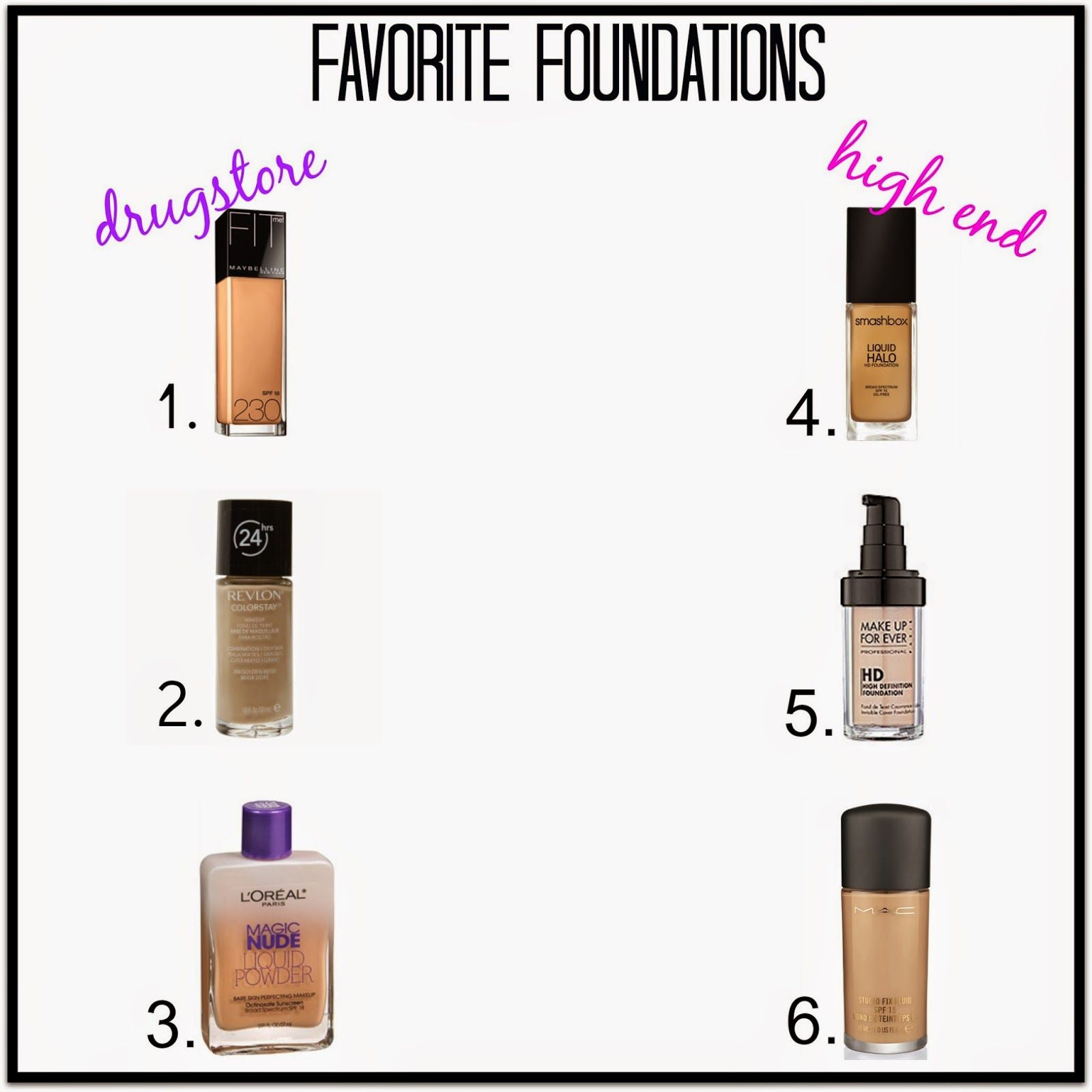 My FAVORITE Foundations all in one place! Drugstore + High-End! #HelloGorgeous