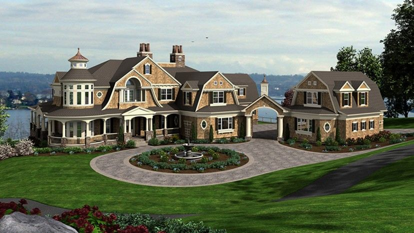 Craftsman Style House Plan 5 Beds 5 Baths 11000 Sq Ft Plan 132 565 Craftsman Style House Plans Craftsman House Plans Shingle Style Homes