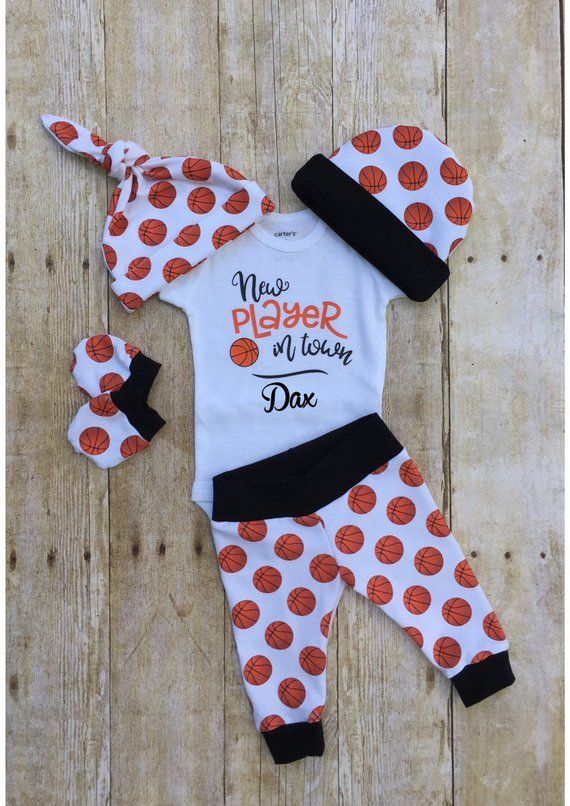Photo of Basketball Baby Boys Coming Home Outfit, Personalized Baby Boy Outfit, Sports Take Home Newborn Outf