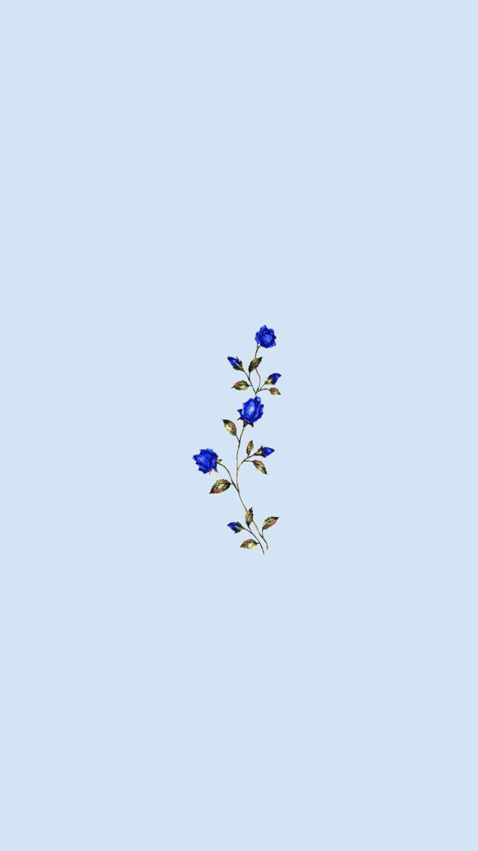Simple Blue Flower Wallpaper Blue Flower Wallpaper Cute Disney Wallpaper Minimalist Art Print