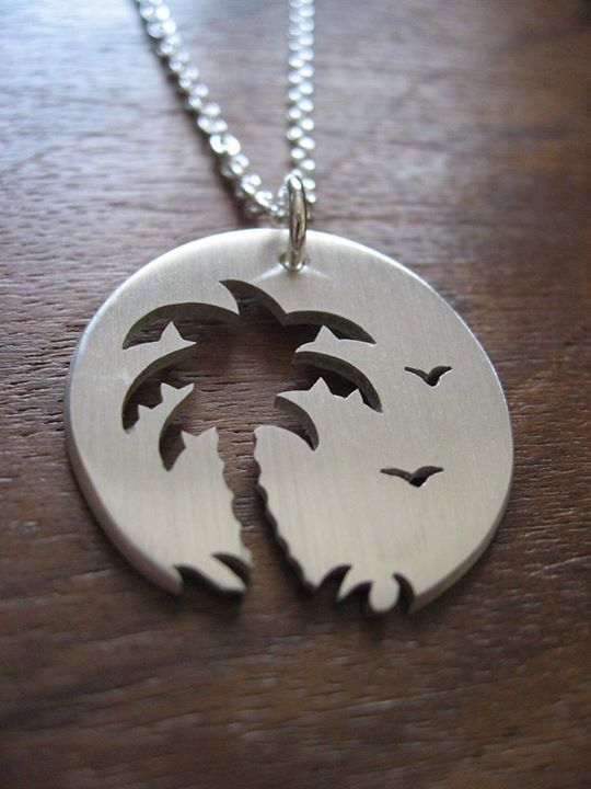 Palm Tree Sunset Birds Silver Pendant Necklace by GorjessJewellery