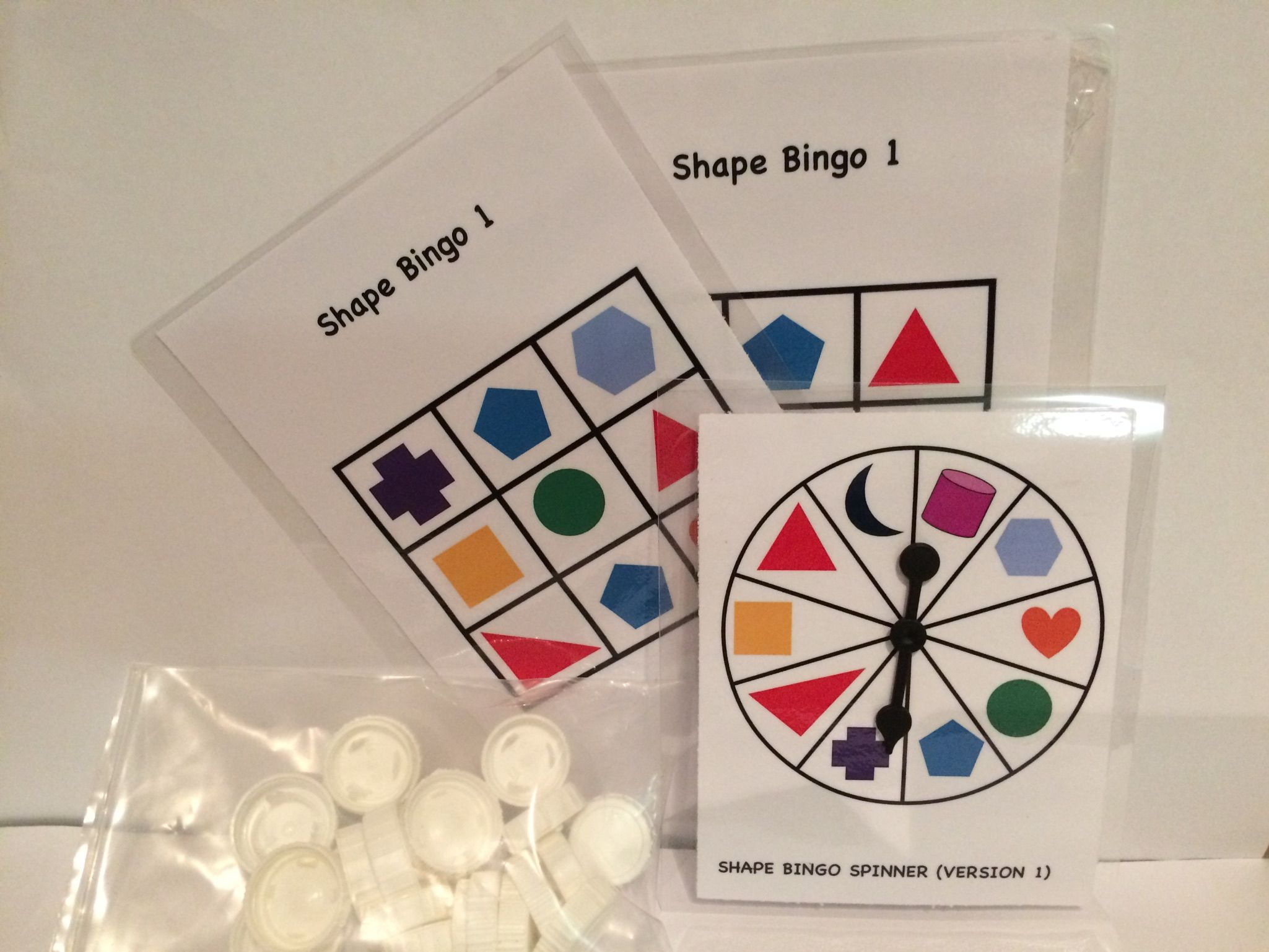 My Version Of Shape Bingo Use Recycled Lids As Counters