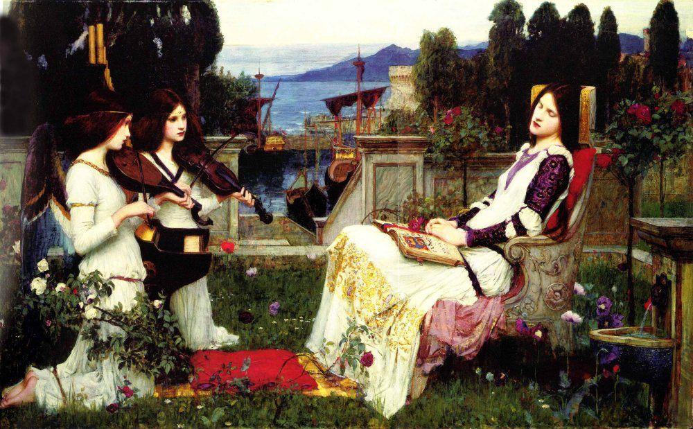art music woman Waterhouse oil painting painting Pre