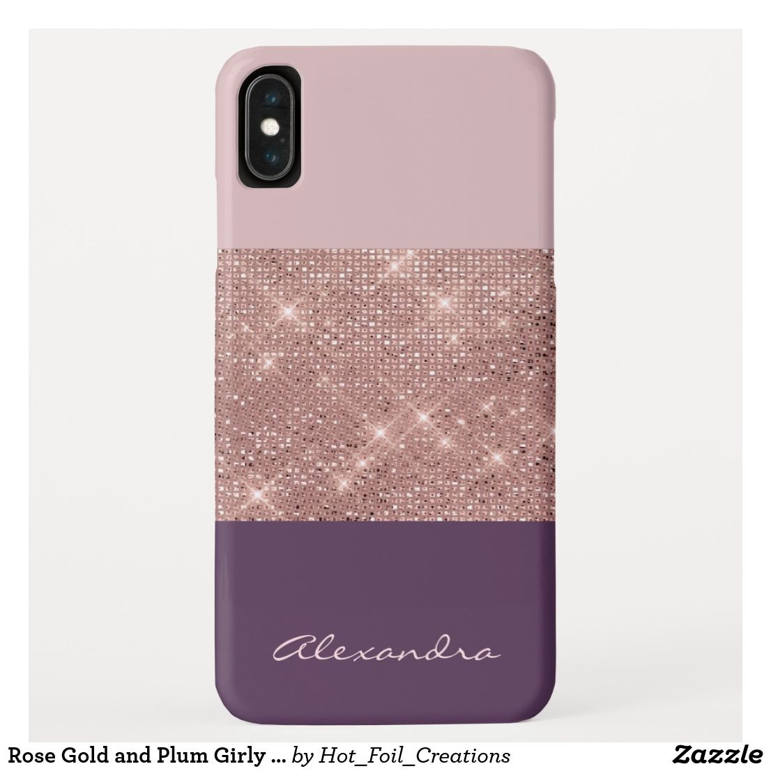 Rose Gold And Plum Girly Sparkly Color Block Iphone Xs Max Case In