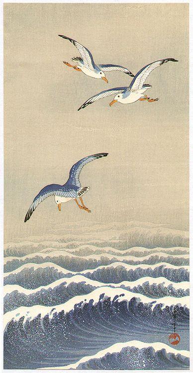Seitei (Shotei) Watanabe (1851-1918): 'Seagulls over the Waves' woodcut