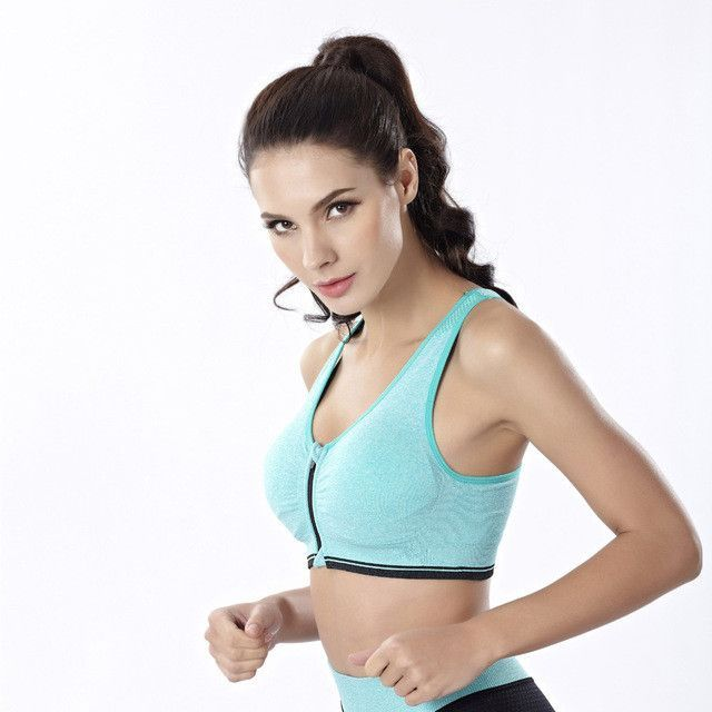4a05e1f5730 Women Fitness Yoga Sports Bra For Running Gym Padded Wirefree Shakeproof  Underwear Push Up Seamless Front Zipper Top Bra
