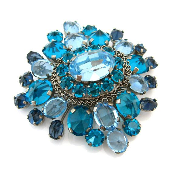 Signed Austria Blue Rhinestone Brooch | Vintage 1950s Costume Jewelry  sc 1 st  Pinterest & Signed Austria Blue Rhinestone Brooch | Vintage 1950s Costume ...