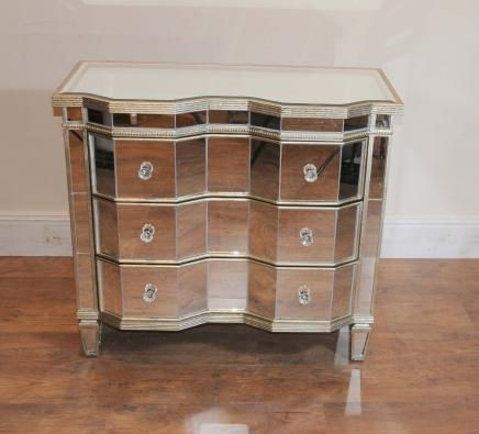 Mirrored Chest Drawers Crinkle Art Deco Cabinet For Bedroom Tv Stand Matches Square Night Stands
