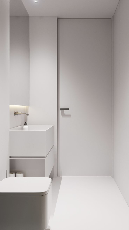 Photo of bagno minimal bianco. bagno bianco minimalista.