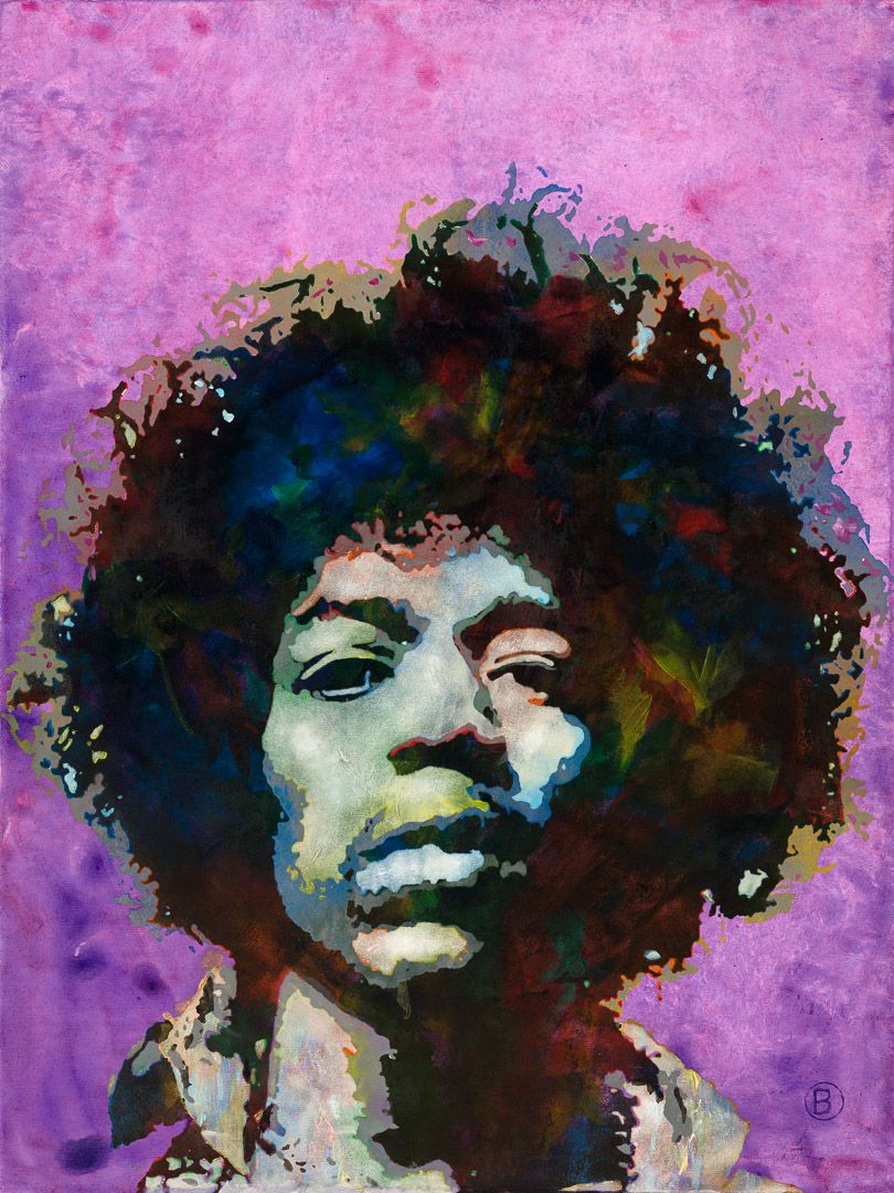 jimi hendrix painting on stretched canvas 36x48 30x40