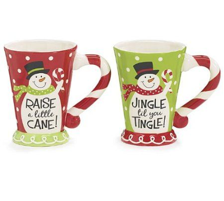 Set of 2 Holiday Snowman Coffee Mugs Great Christmas Gift Mugs with Cute Messages
