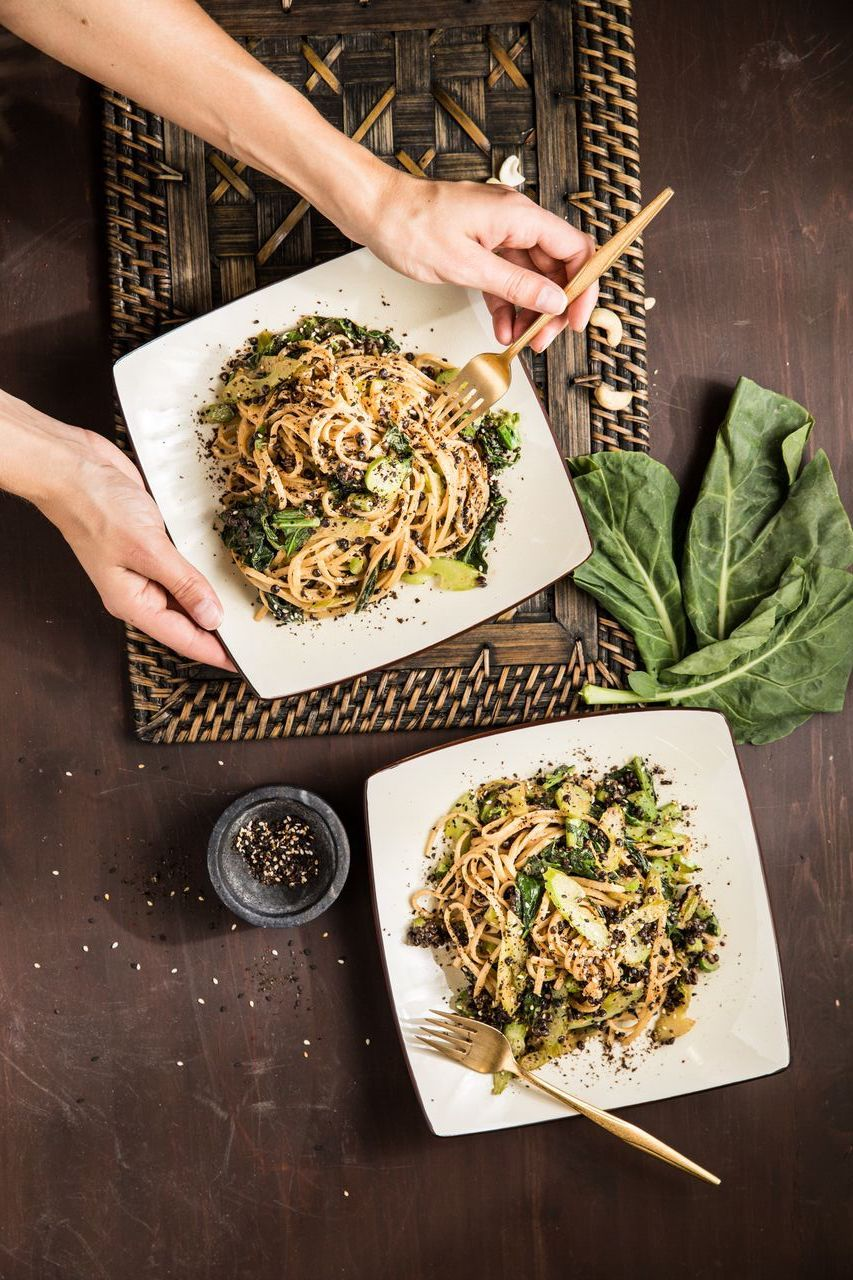 Sesame Cashew Noodles With Chinese Broccoli And Nori Spice