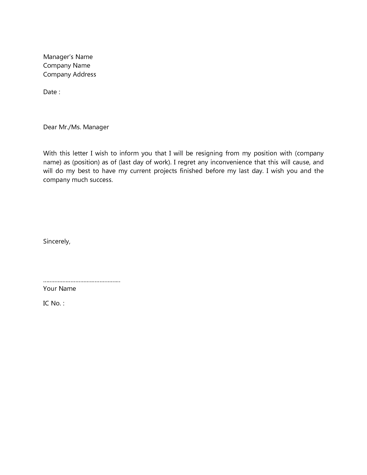 Letters Of Resignation 2 Weeks Notice Google Search Business In