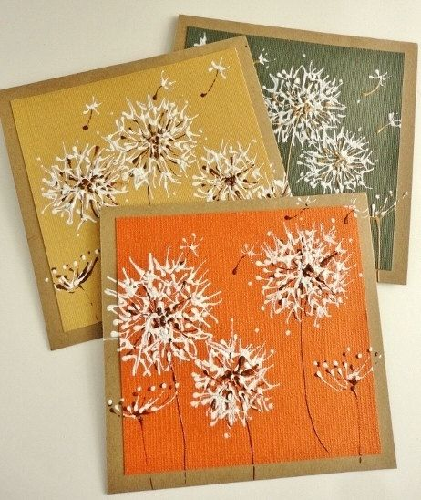 Fall Autumn Painted Dandelions Greeting Card Set by stephanieh02,