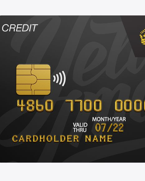 Credit Card Mockup - Front View. Preview (Close-Up)