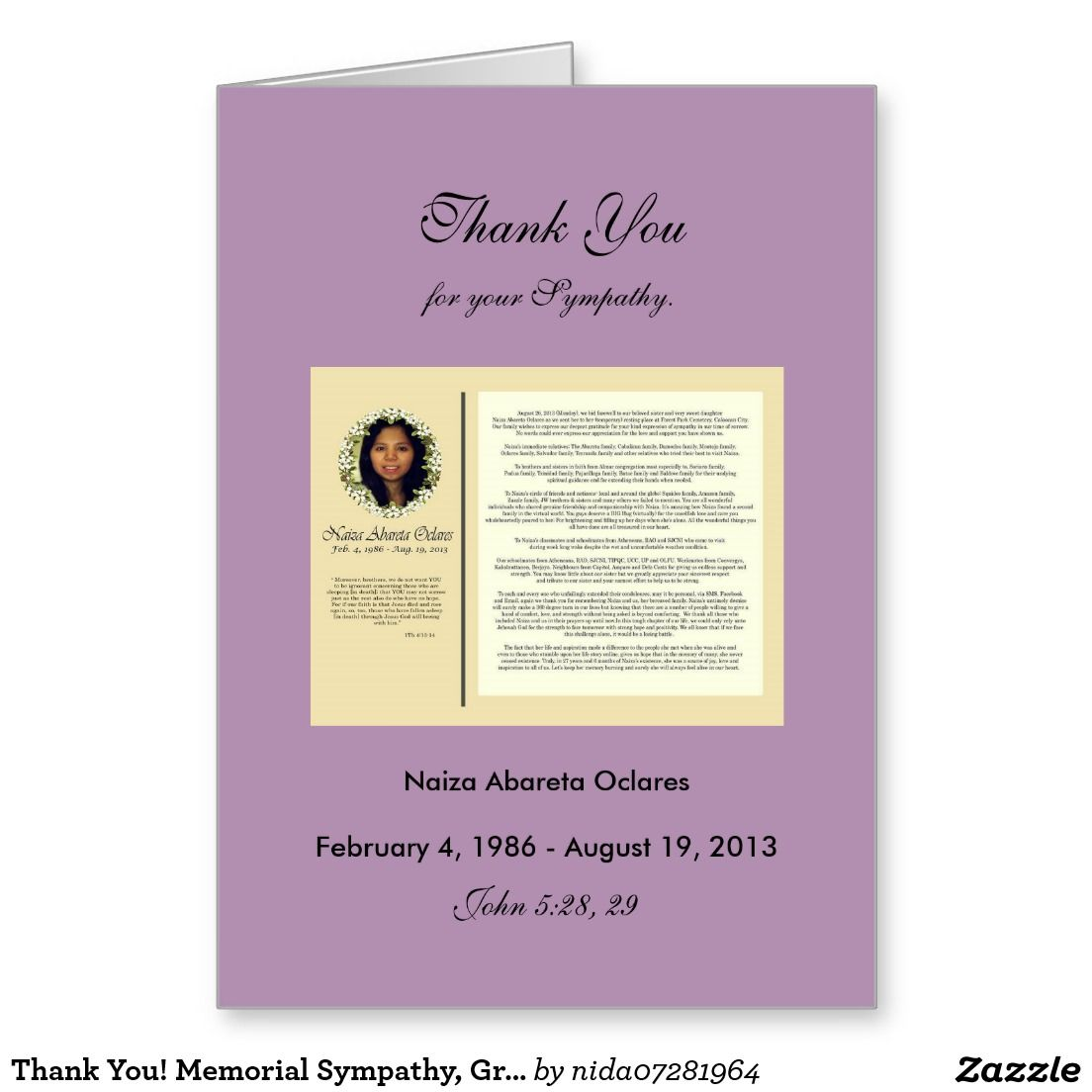 Thank you memorial sympathy greeting card thank you memorial memorial sympathy greeting card kristyandbryce Images