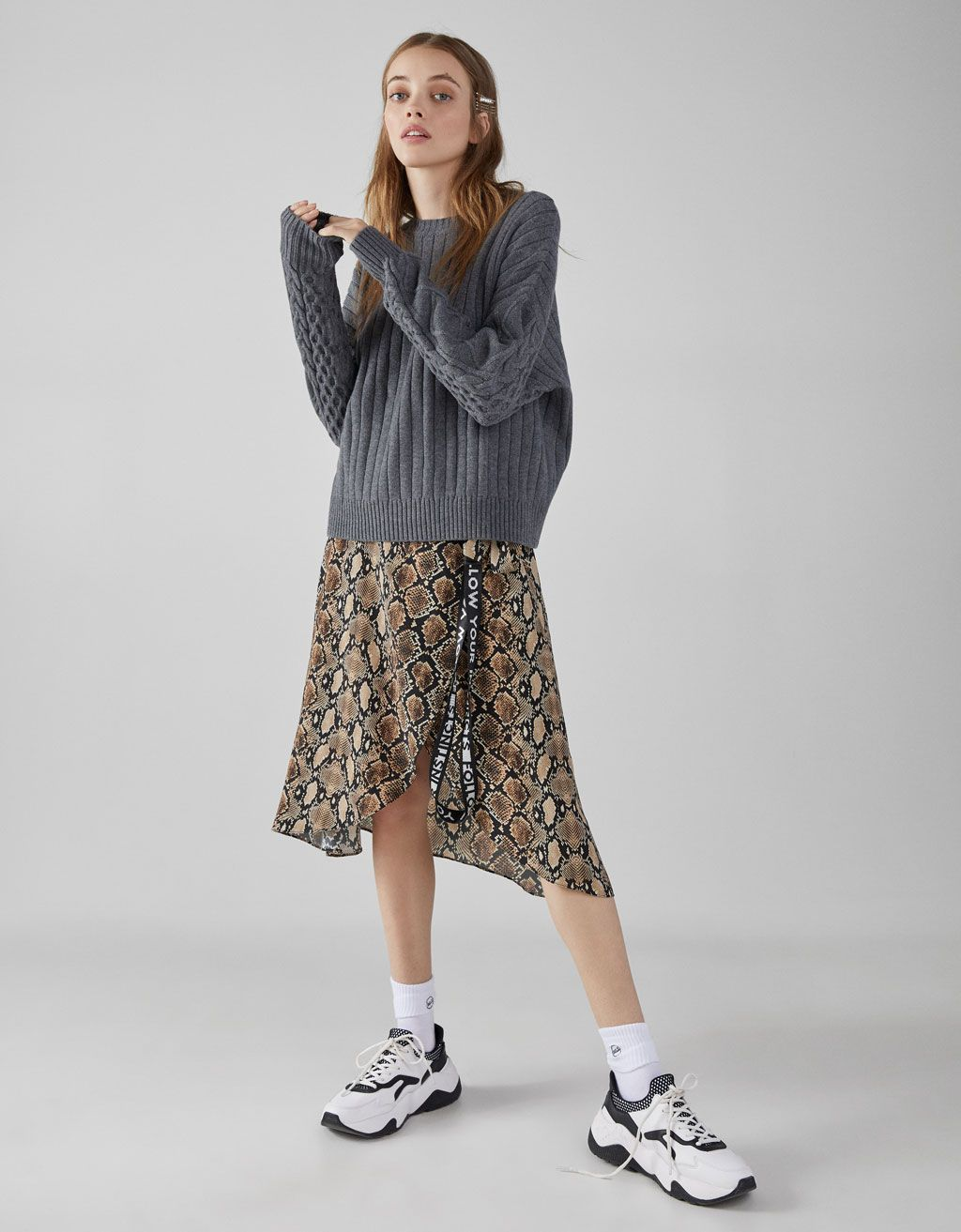 000618f8451b Cable-knit sweater - null - Bershka United States | Outfits ...