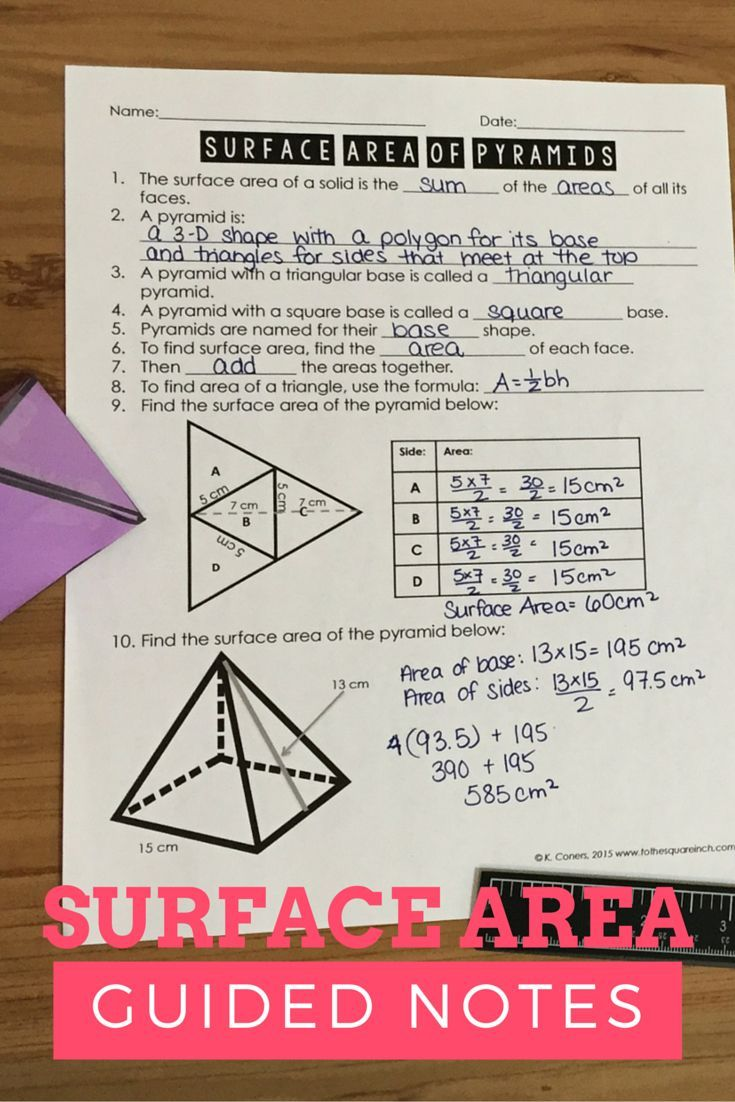 Surface Area Of Pyramids Notes Teaching Middle School Maths Middle School Math Middle School Math Classroom