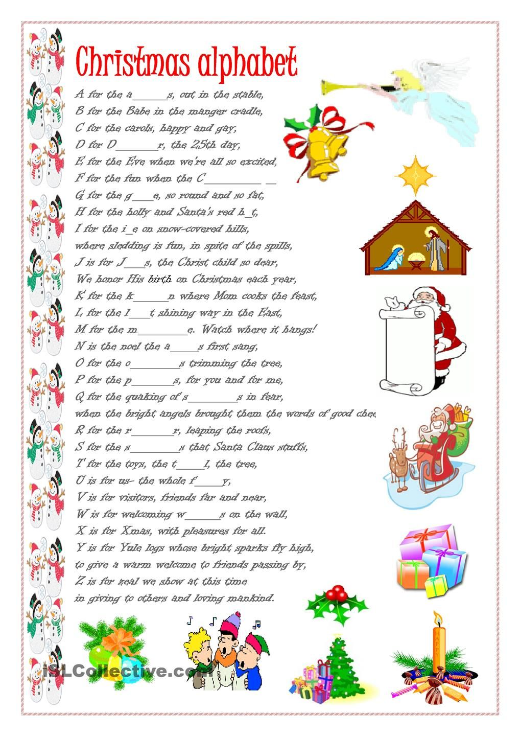 christmas alphabet english lessons pinterest. Black Bedroom Furniture Sets. Home Design Ideas