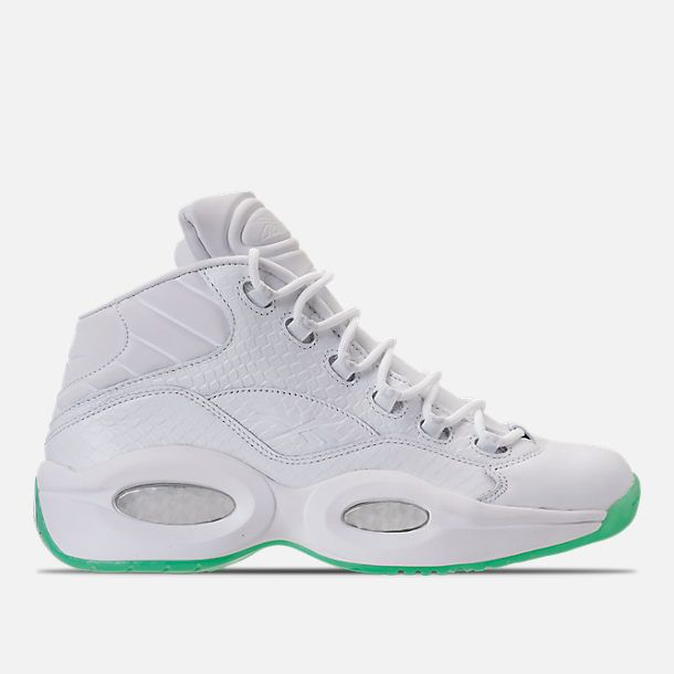 ff9141dc5b0f Right view of Men s Reebok Question Mid EE Basketbal Shoes in White Mint  Glow